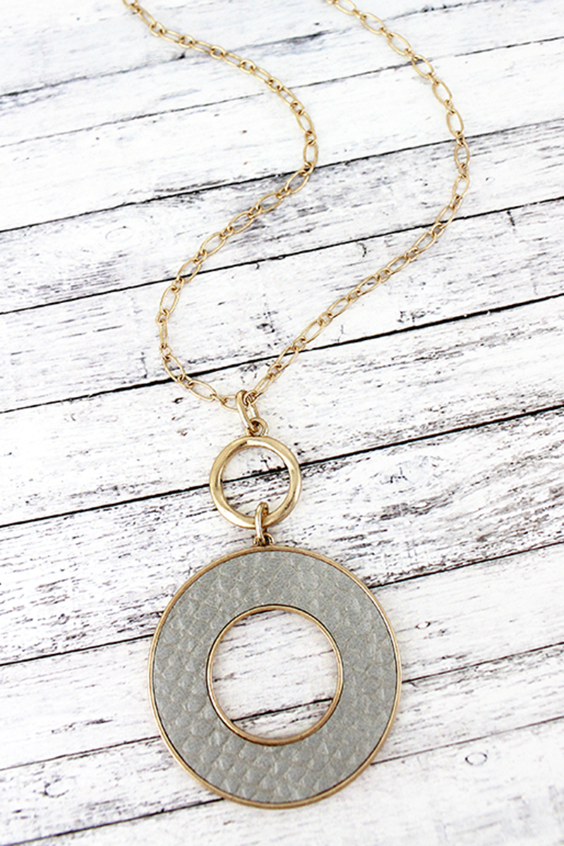 Crave Goldtone and Gray Python Circle Necklace