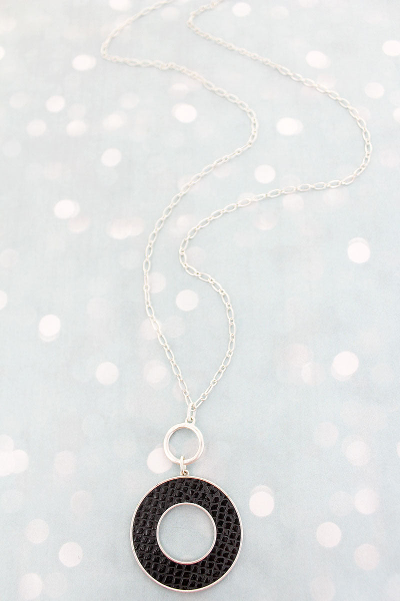 SALE! Crave Silvertone and Black Python Circle Necklace