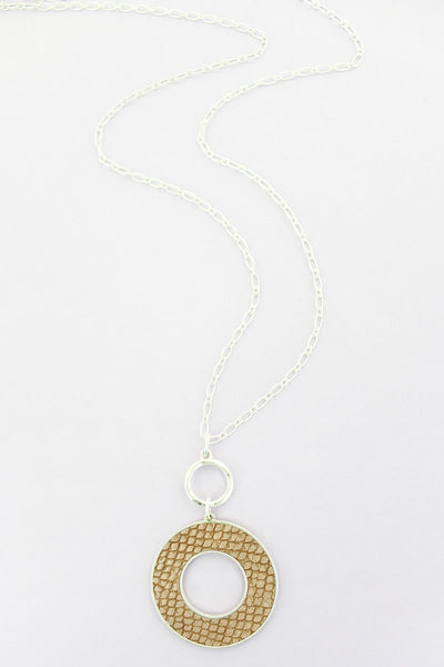SALE! Crave Silvertone and Brown Python Circle Necklace