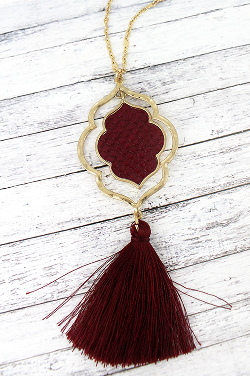 Crave Goldtone and Burgundy Python Orbital Moroccan Tassel Necklace