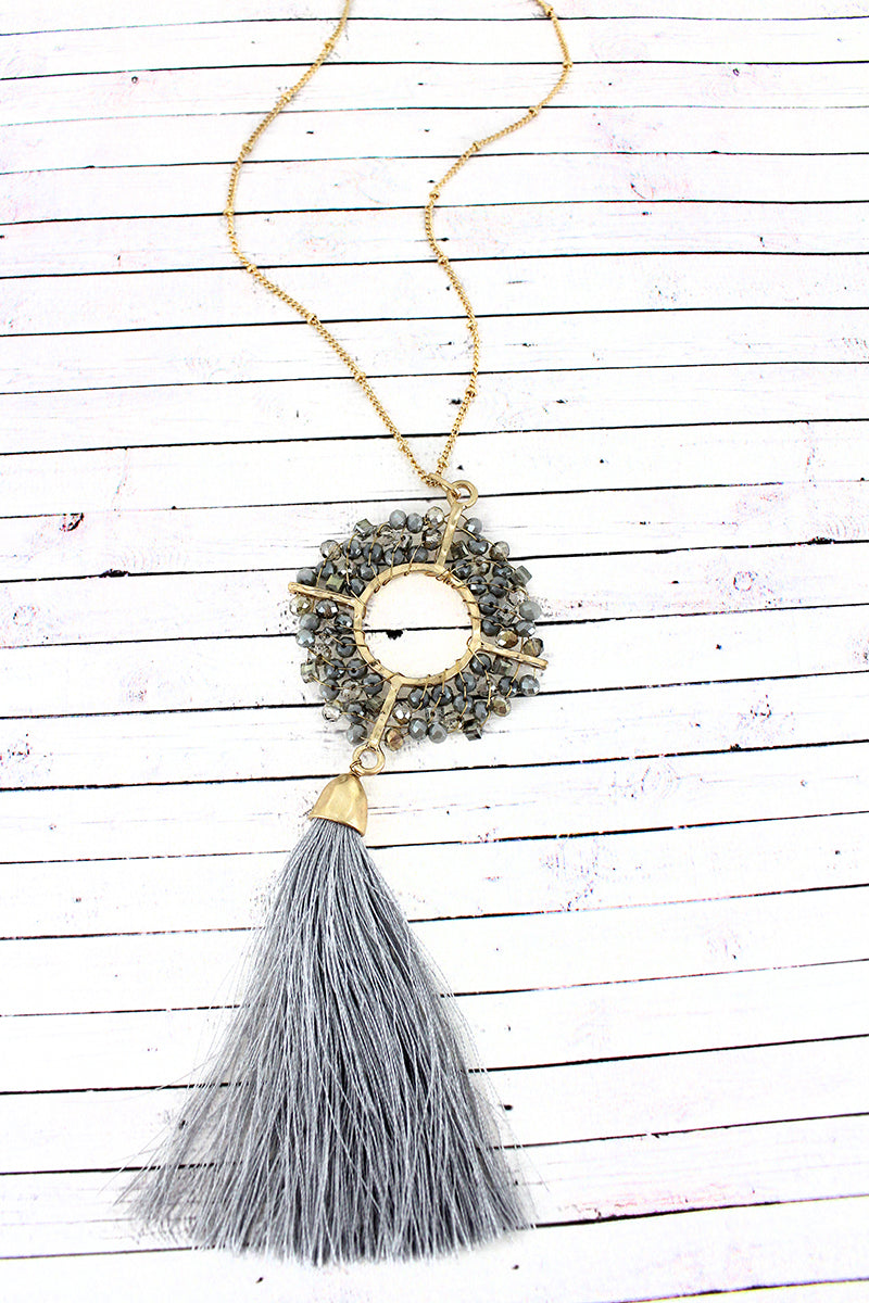 Crave Gray Glass Beaded Circle and Tassel Pendant Necklace