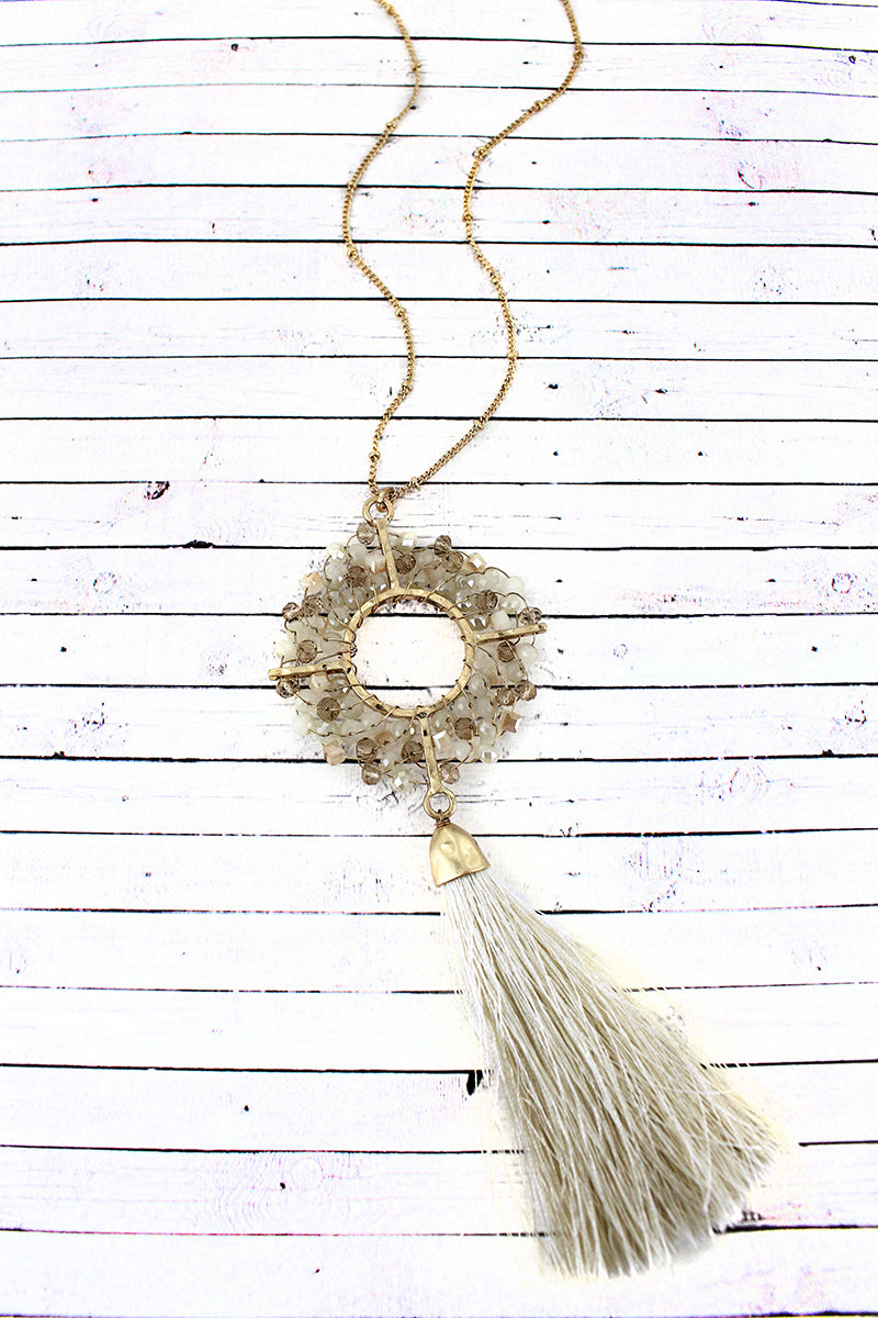 Crave Ivory Glass Beaded Circle and Tassel Pendant Necklace