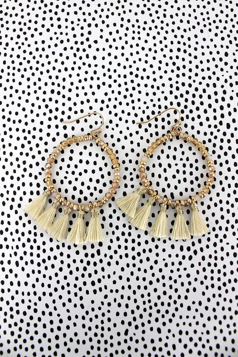 Crave Ivory Tassel Charm Glass Bead Hoop Earrings