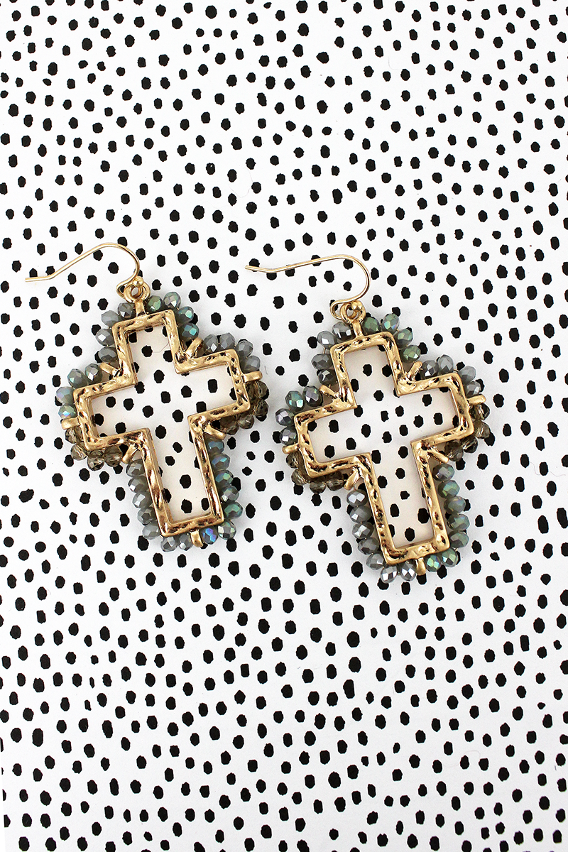 Crave Gray Glass Bead Trimmed Goldtone Cross Earrings