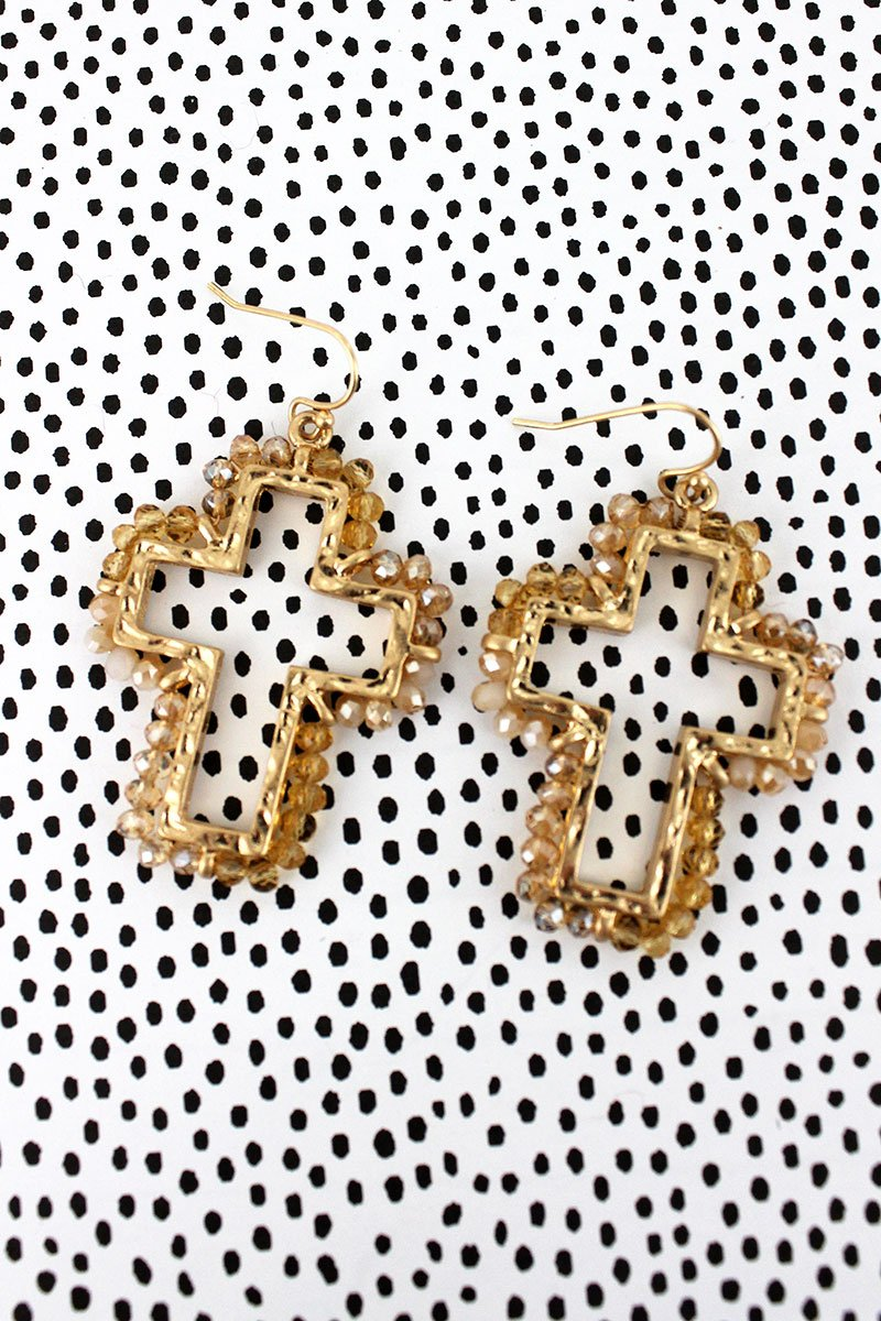 Crave Ivory Glass Bead Trimmed Goldtone Cross Earrings