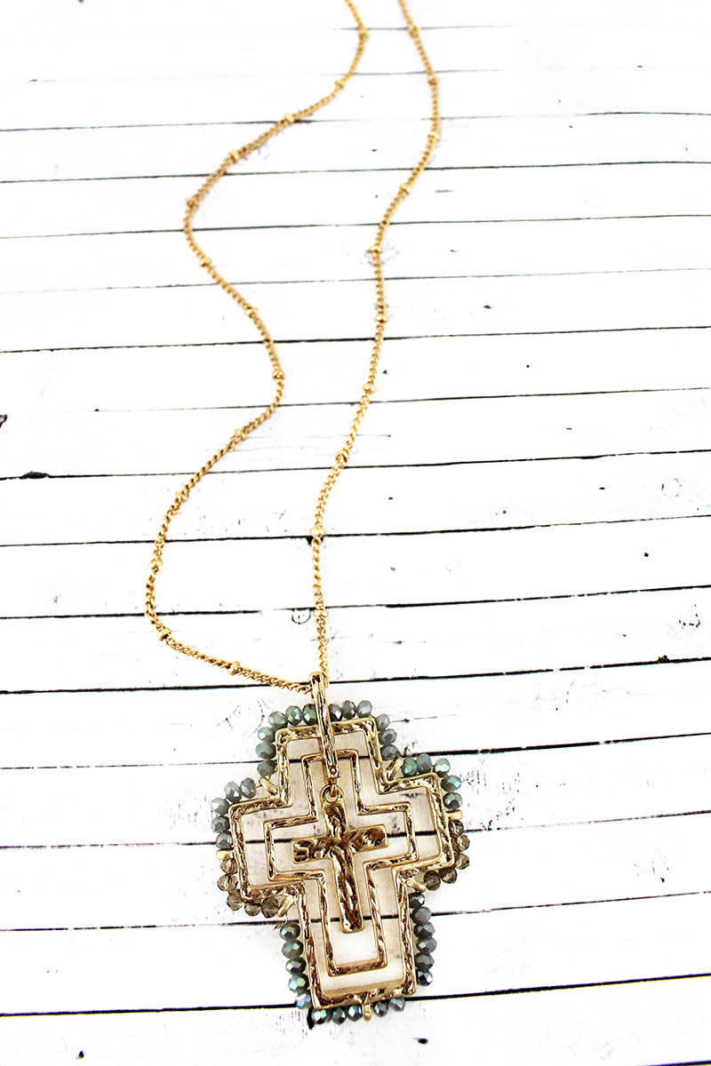 Crave Gray Glass Bead Trimmed Layered Goldtone Cross Necklace