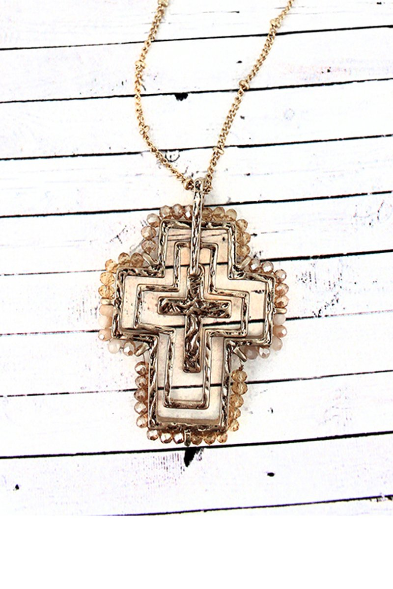 Crave Ivory Glass Bead Trimmed Layered Goldtone Cross Necklace
