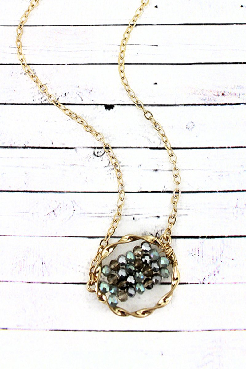 Crave Gray Glass Beaded Twisted Goldtone Circle Necklace