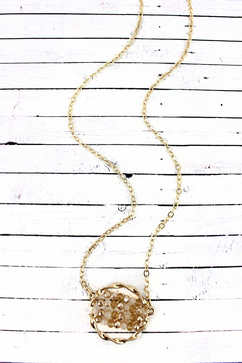 Crave Ivory Glass Beaded Twisted Goldtone Circle Necklace