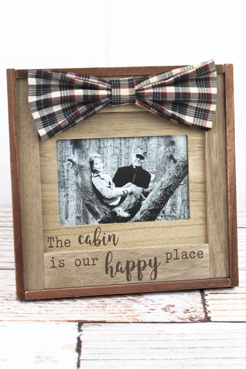 9.5 x 9.5 'Happy Place' Cabin Wood 4x6 Photo Frame