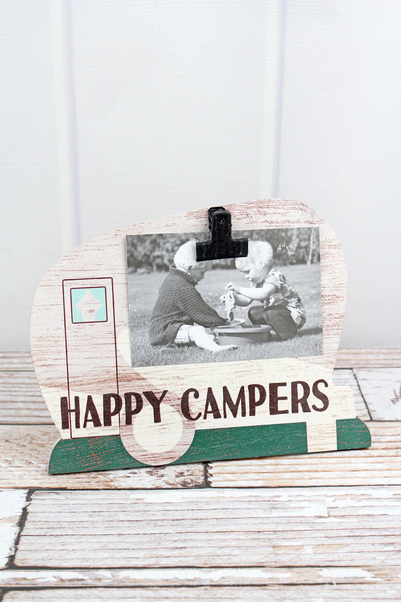 8 x 10 Ivory 'Happy Campers' Wood 4x6 Photo Display