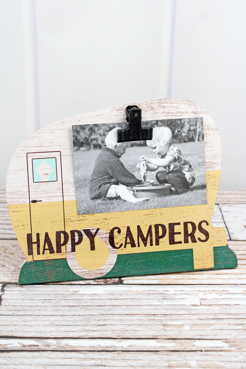 8 x 10 Yellow 'Happy Campers' Wood 4x6 Photo Display