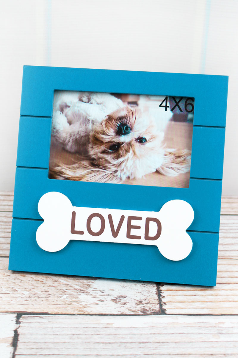 8 x 8 'Loved' Dog Bone Wood 4x6 Photo Frame