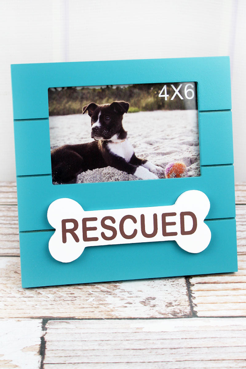8 x 8 'Rescued' Dog Bone Wood 4x6 Photo Frame