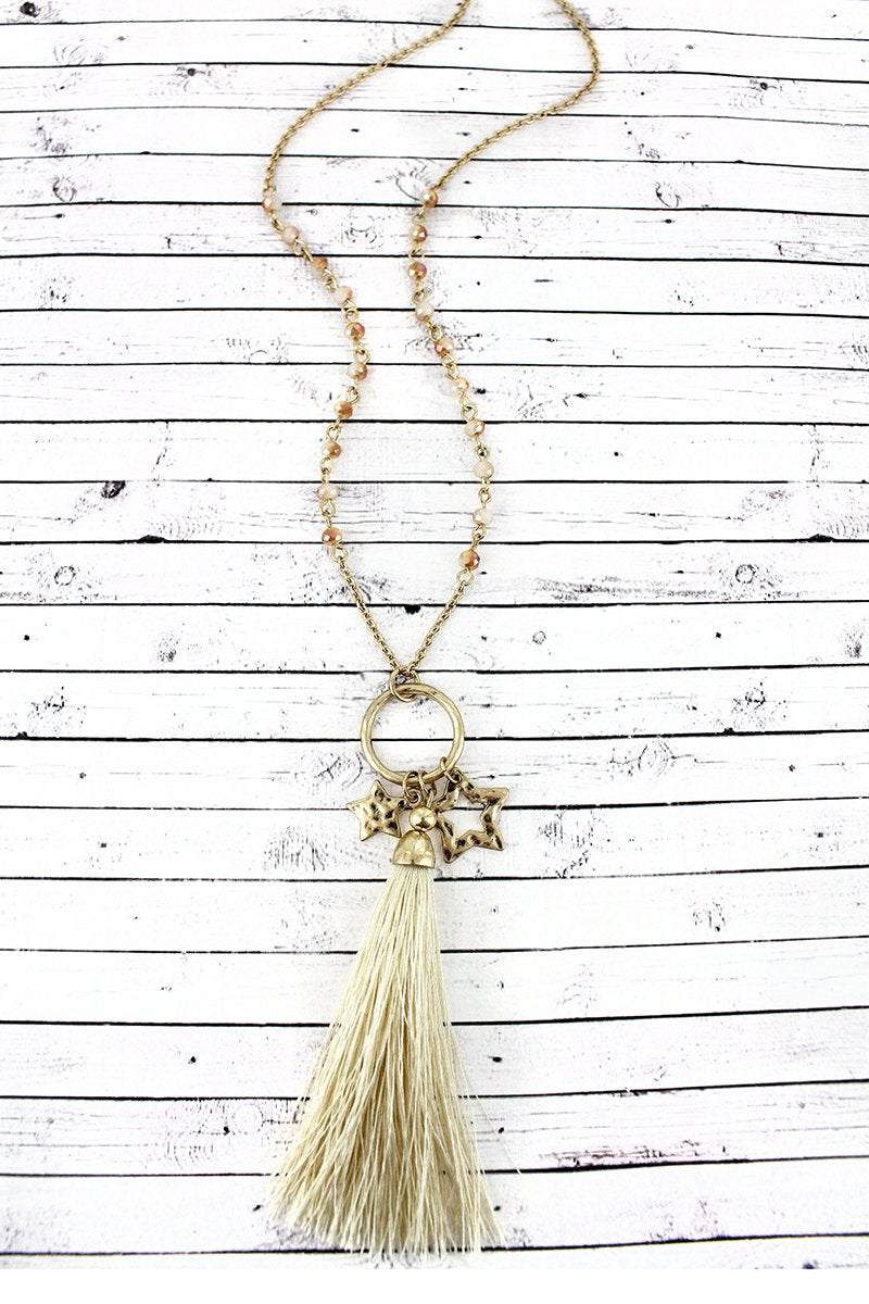 Crave Ivory Beaded Goldtone Star & Tassel Pendant Necklace