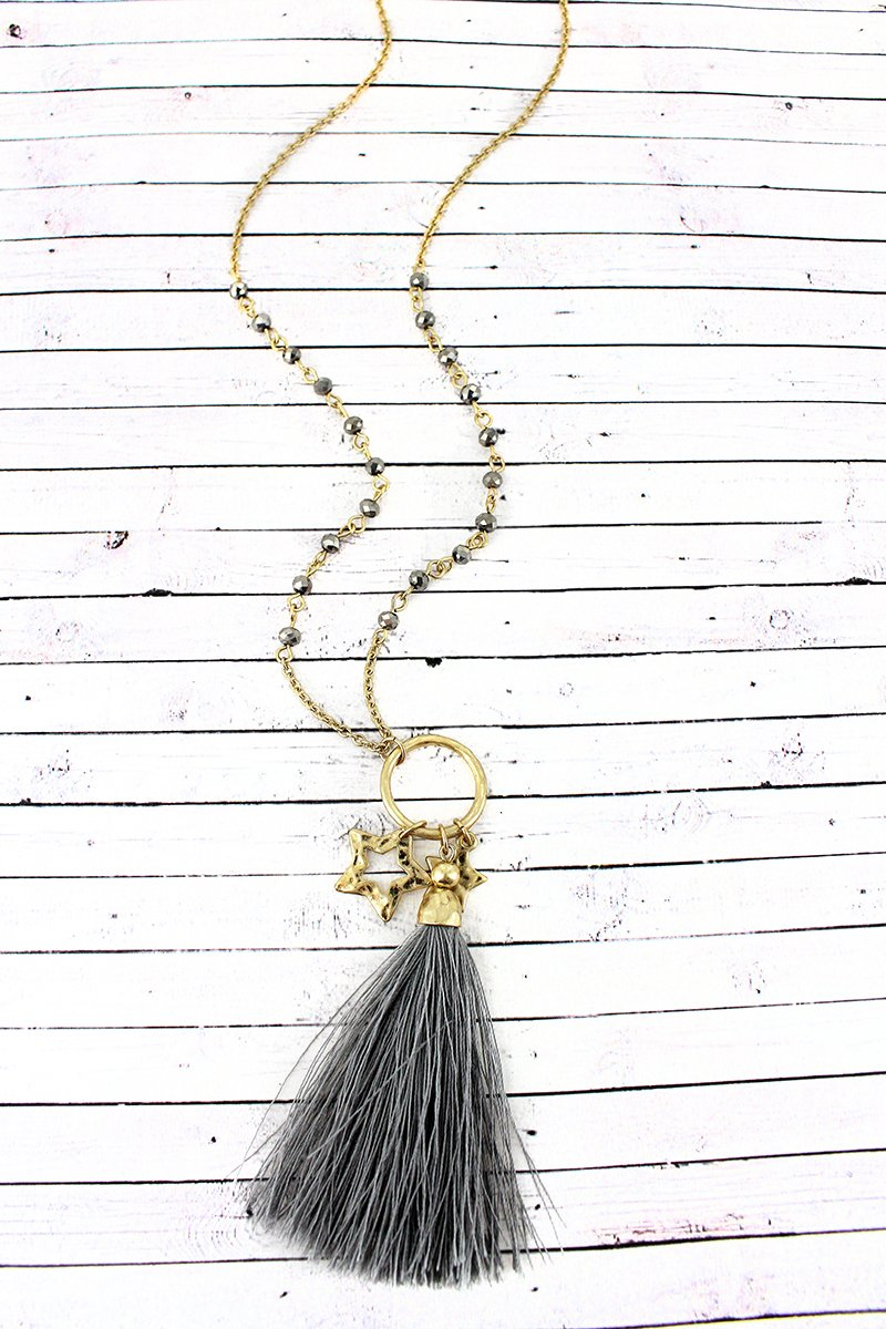 Crave Hematite Beaded Goldtone Star & Tassel Pendant Necklace