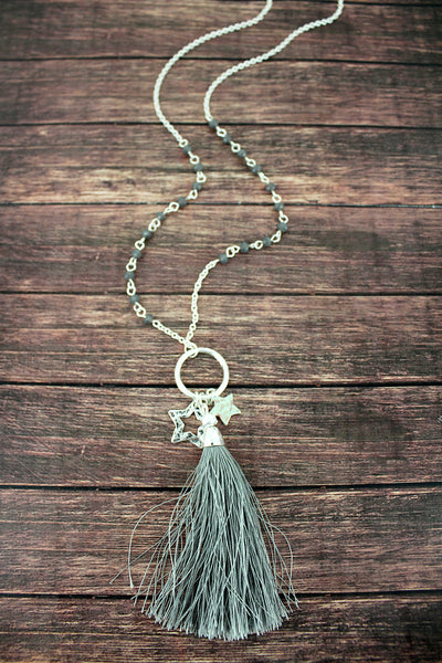 Crave Gray Beaded Silvertone Star & Tassel Pendant Necklace