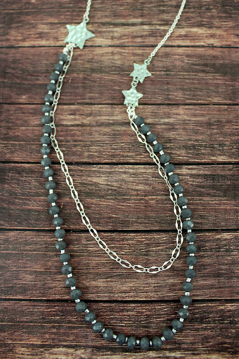 Crave Layered Gray Beaded Silvertone Star Necklace
