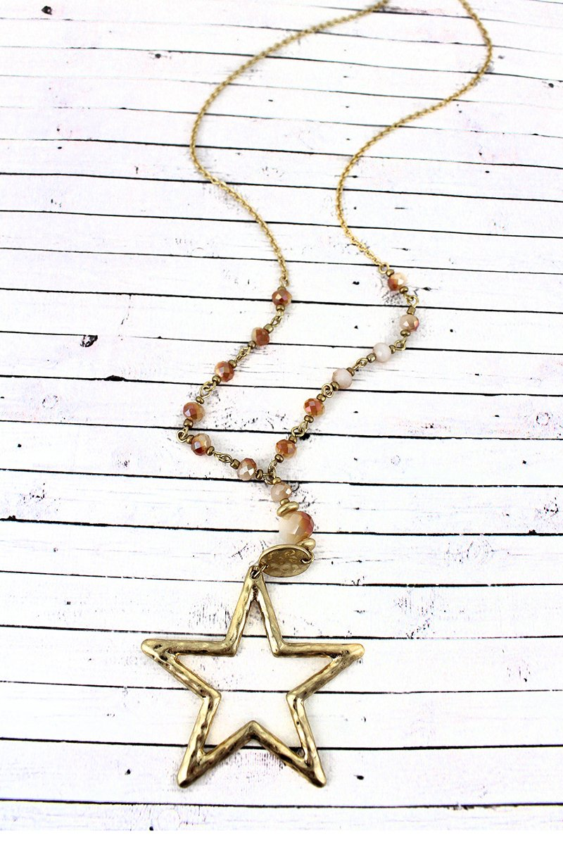 Crave Goldtone Star Pendant Ivory Glass Beaded Necklace