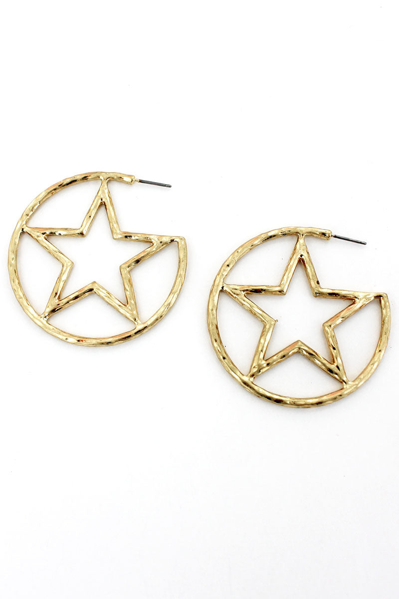 Crave Goldtone Encircled Star Hoop Earrings