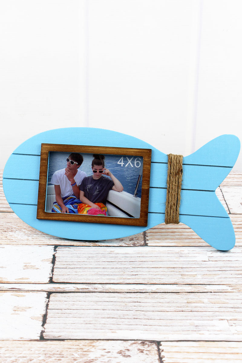 6.5 x 13.75 Blue Wood Fish 4x6 Photo Frame