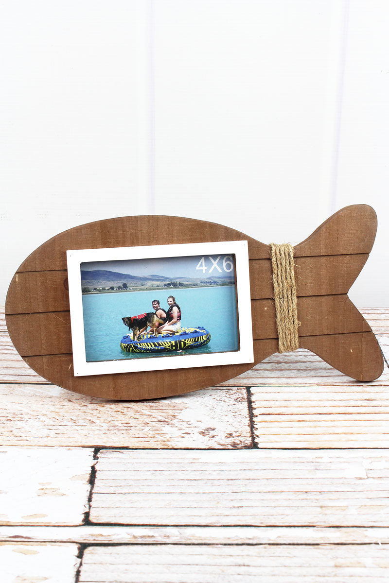 6.5 x 13.75 Brown Wood Fish 4x6 Photo Frame