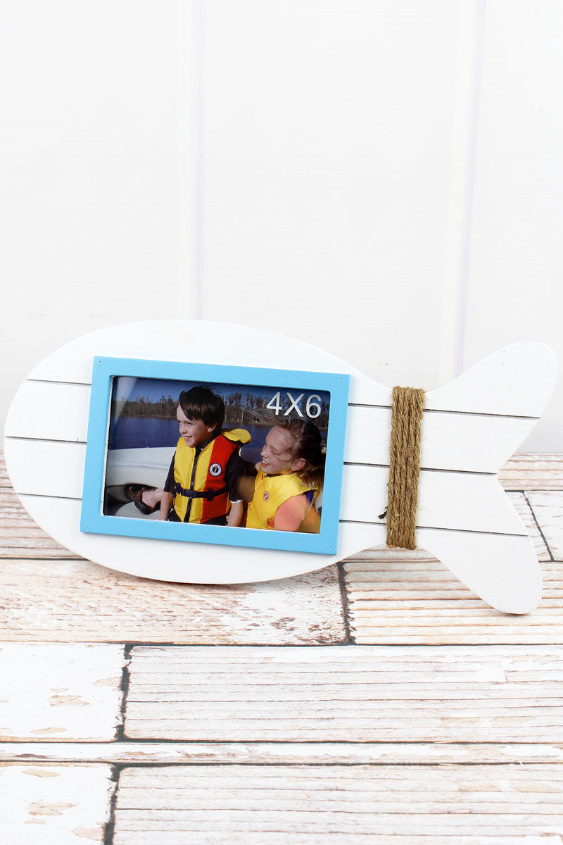 6.5 x 13.75 White Wood Fish 4x6 Photo Frame