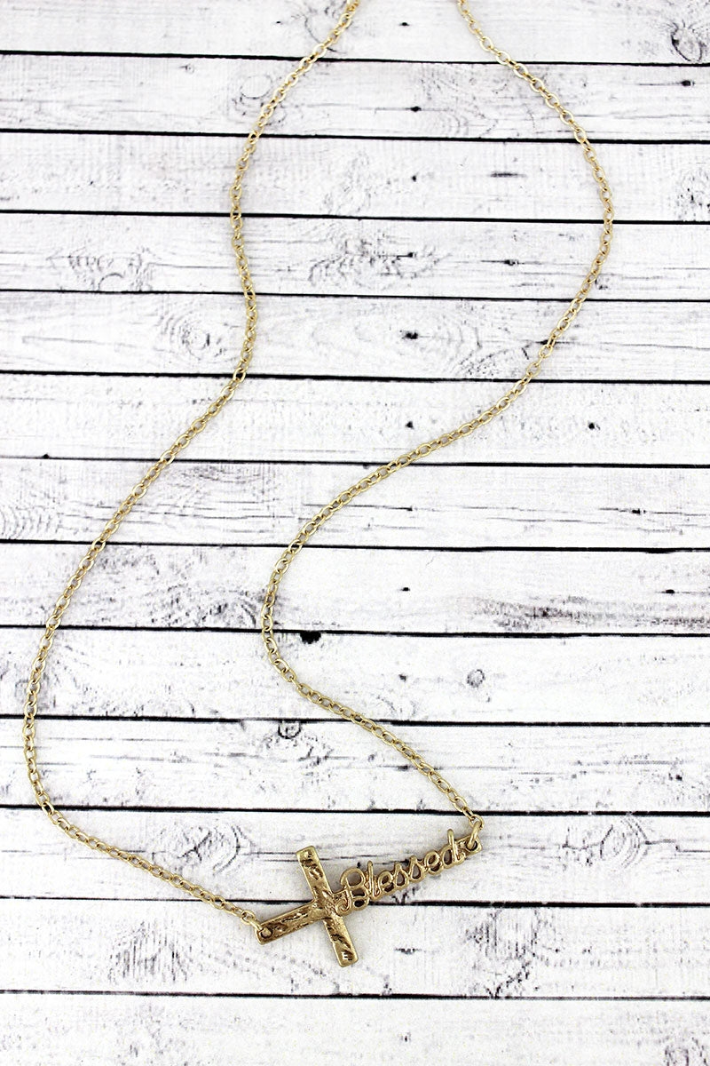 Worn Goldtone 'Blessed' Script Cross Necklace