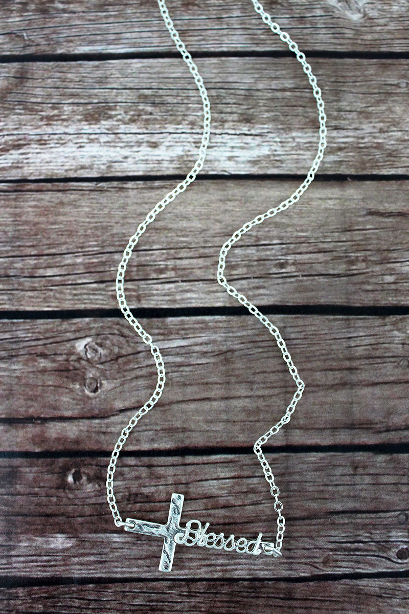 Crave Worn Silvertone 'Blessed' Script Cross Necklace