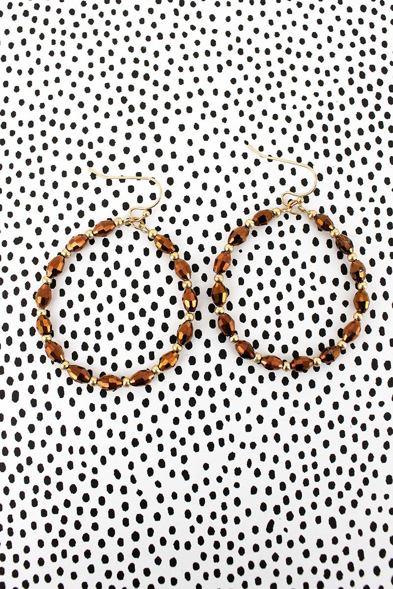 Crave Bronze Glass Bead Hoop Earrings