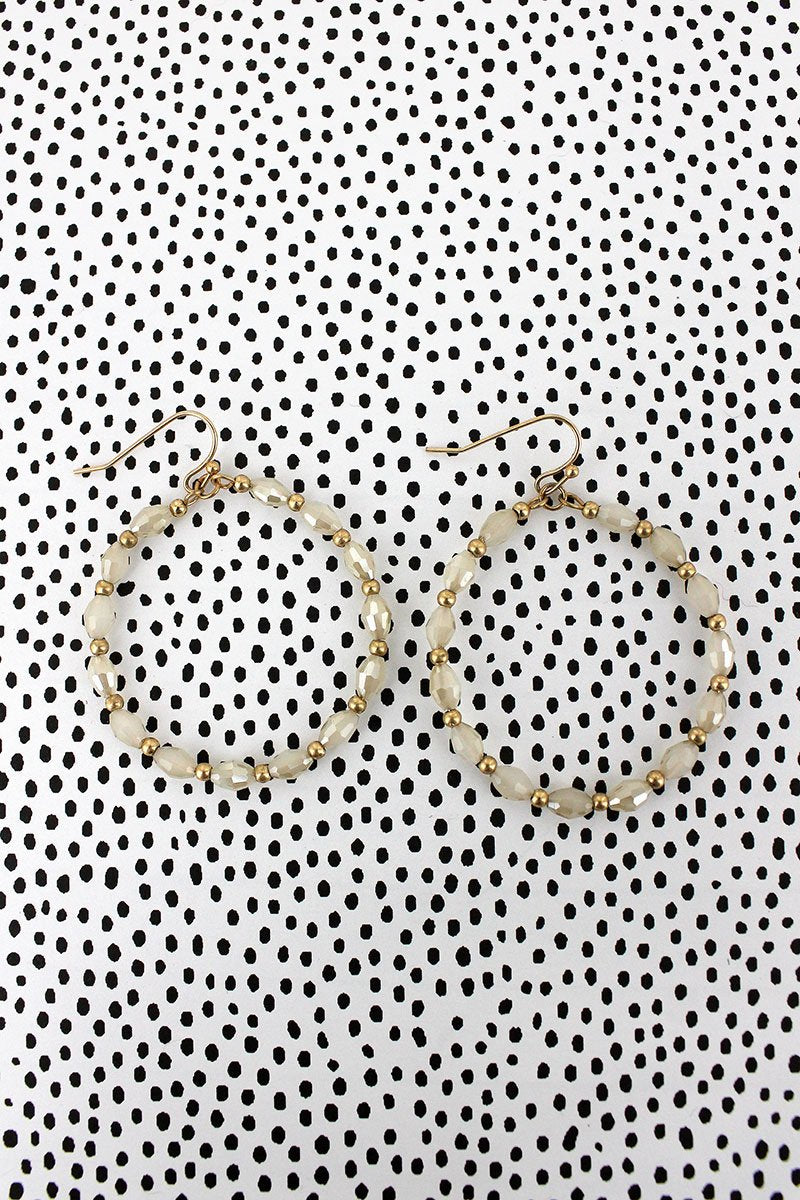 Crave Ivory Glass Bead Hoop Earrings