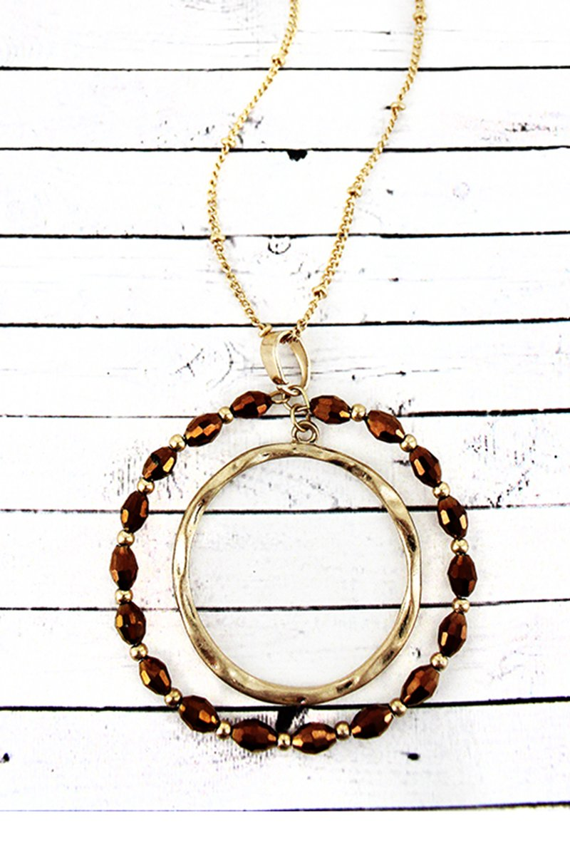 Crave Goldtone and Bronze Glass Bead Orbital Circle Pendant Necklace