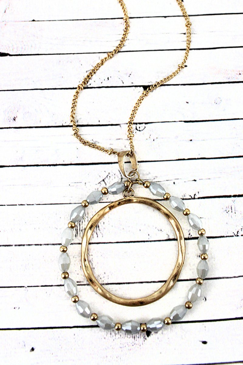 Crave Goldtone and Gray Glass Bead Orbital Circle Pendant Necklace