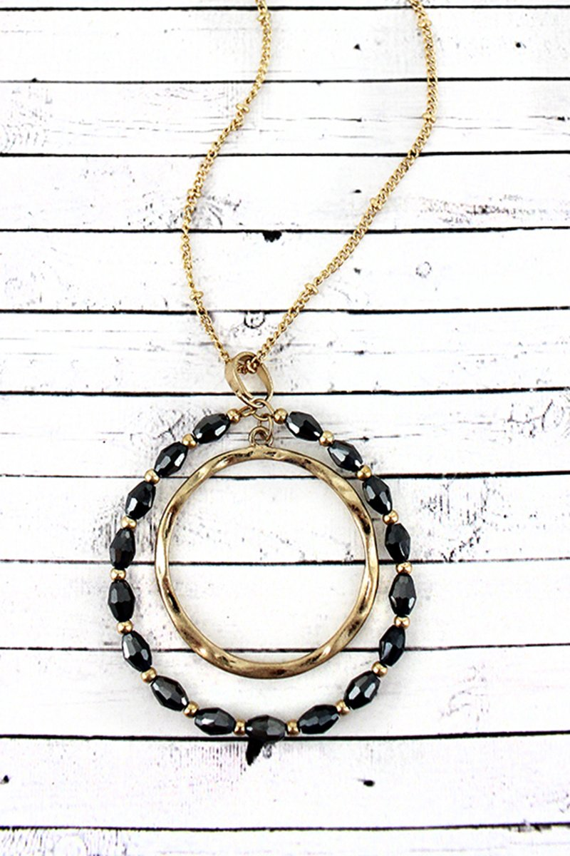 Crave Goldtone and Hematite Glass Bead Orbital Circle Pendant Necklace