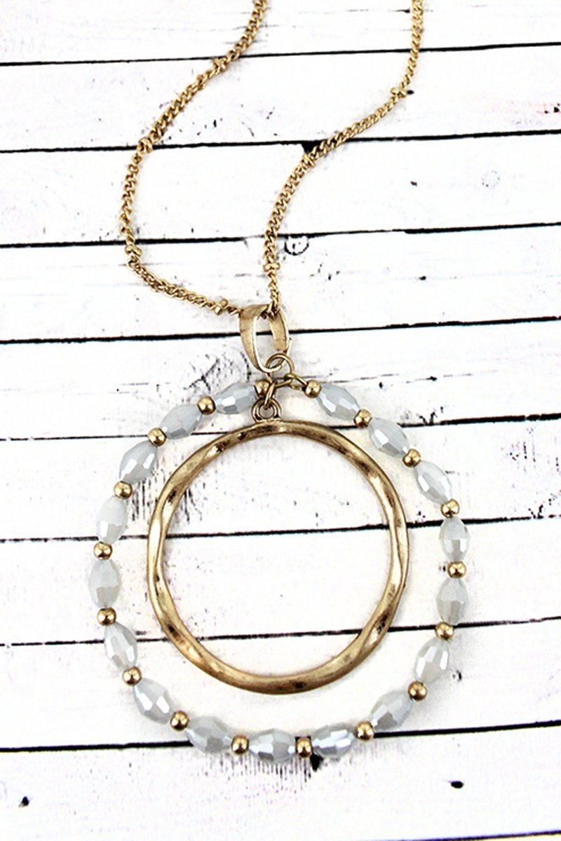 Crave Goldtone and Ivory Glass Bead Orbital Circle Pendant Necklace
