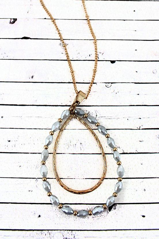 Crave Goldtone and Gray Glass Bead Orbital Teardrop Pendant Necklace