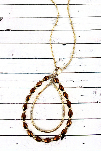 Crave Goldtone and Bronze Glass Bead Orbital Teardrop Pendant Necklace