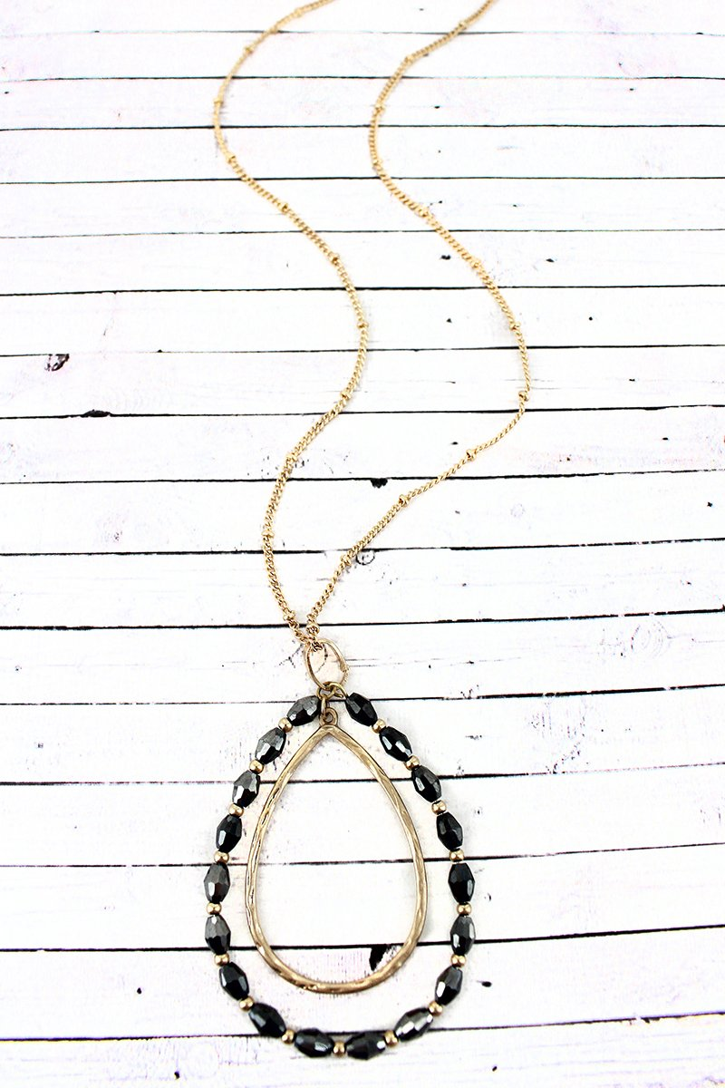 Crave Goldtone and Hematite Glass Bead Orbital Teardrop Pendant Necklace