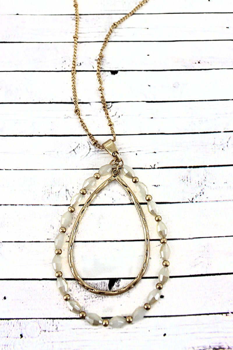 Crave Goldtone and Ivory Glass Bead Orbital Teardrop Pendant Necklace