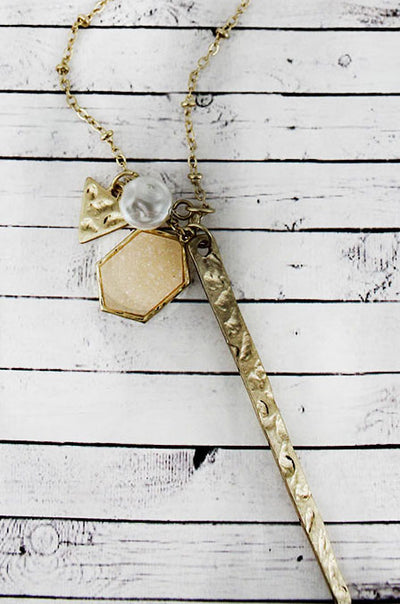 Crave Ivory Druzy Hexagon and Goldtone Spear Multi-Pendant Necklace