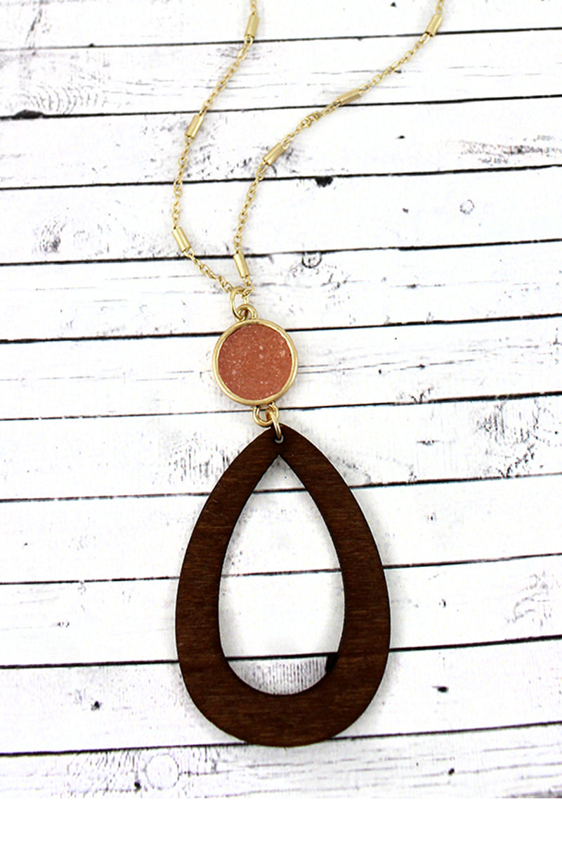 Crave Pink Druzy Disk and Wood Open Teardrop Necklace