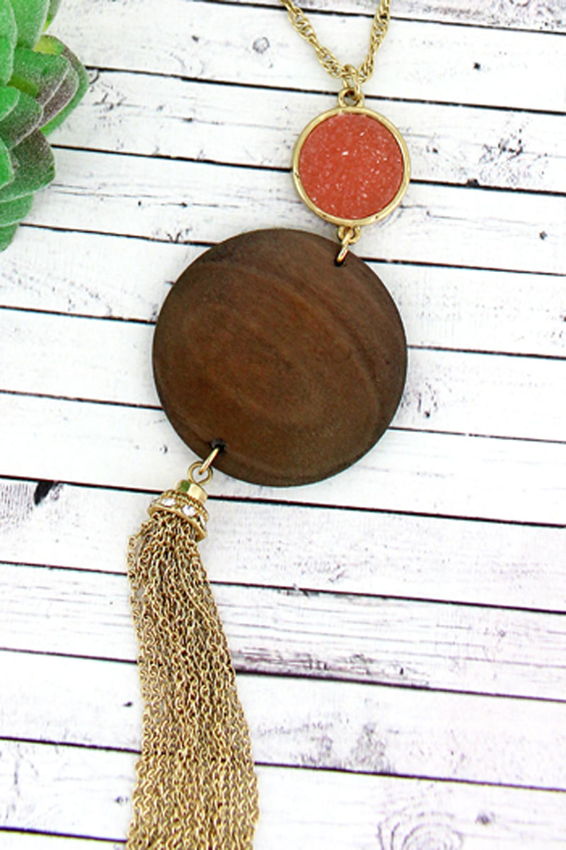 SALE! Pink Druzy and Wood Disk Tassel Pendant Necklace