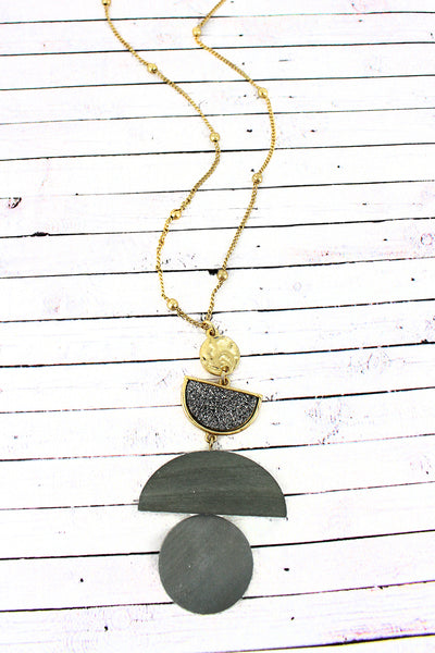 Crave Hematite Druzy and Wood Geo Pendant Necklace