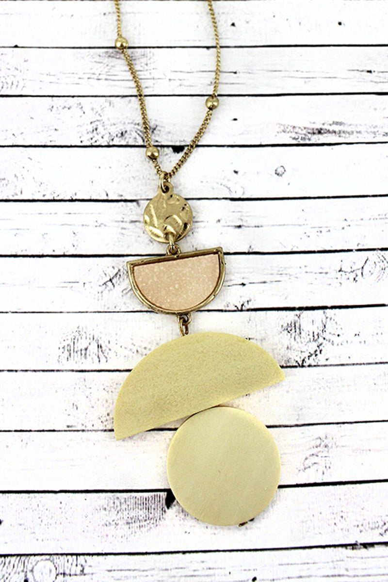Crave Ivory Druzy and Wood Geo Pendant Necklace