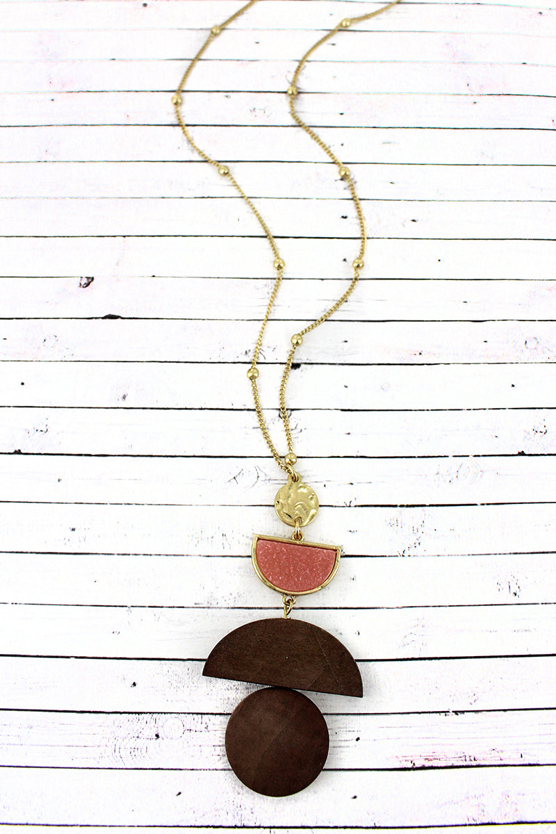 Crave Pink Druzy and Wood Geo Pendant Necklace