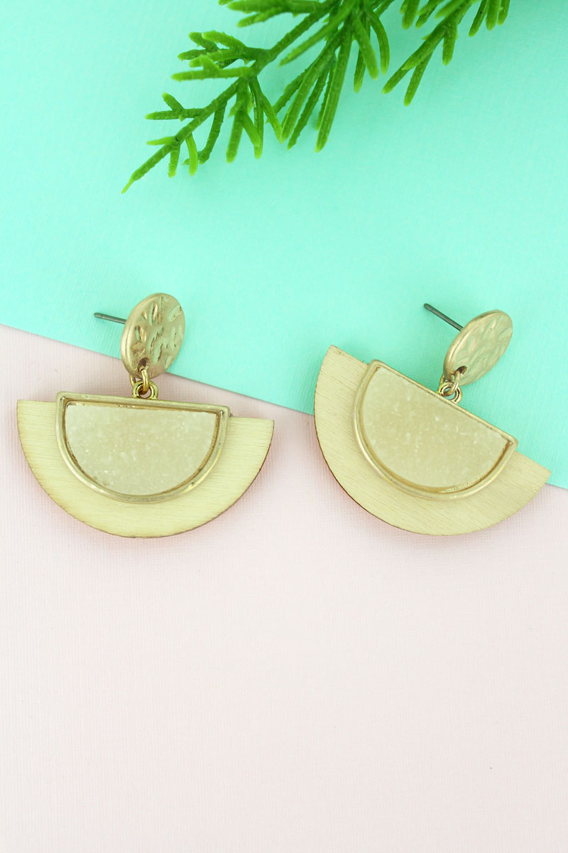 SALE! Crave Ivory Druzy and Wood Half Moon Earrings