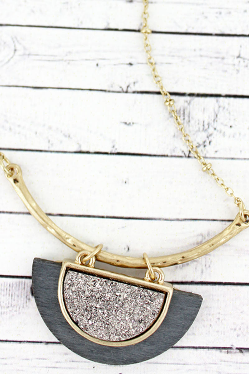 SALE! Hematite Druzy and Wood Half Moon Necklace