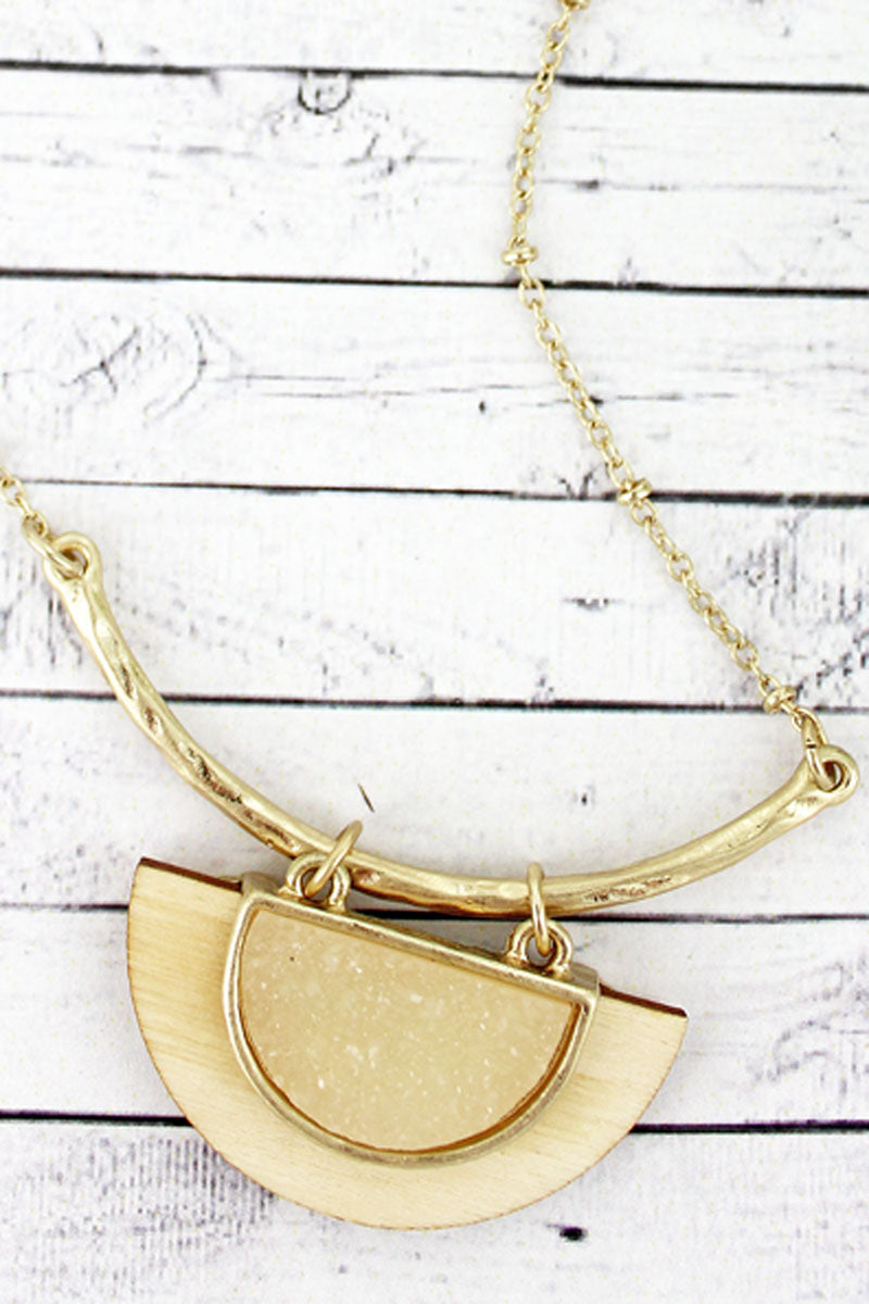 SALE! Ivory Druzy and Wood Half Moon Necklace