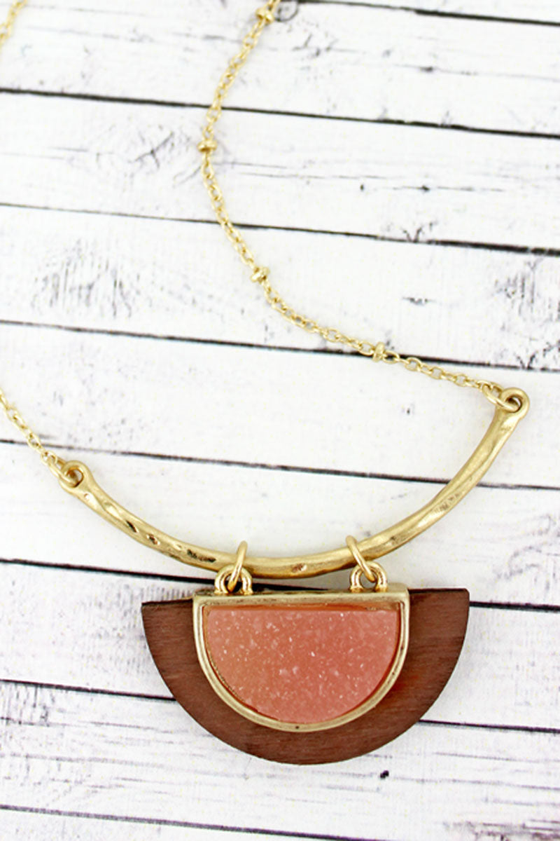 SALE! Pink Druzy and Wood Half Moon Necklace