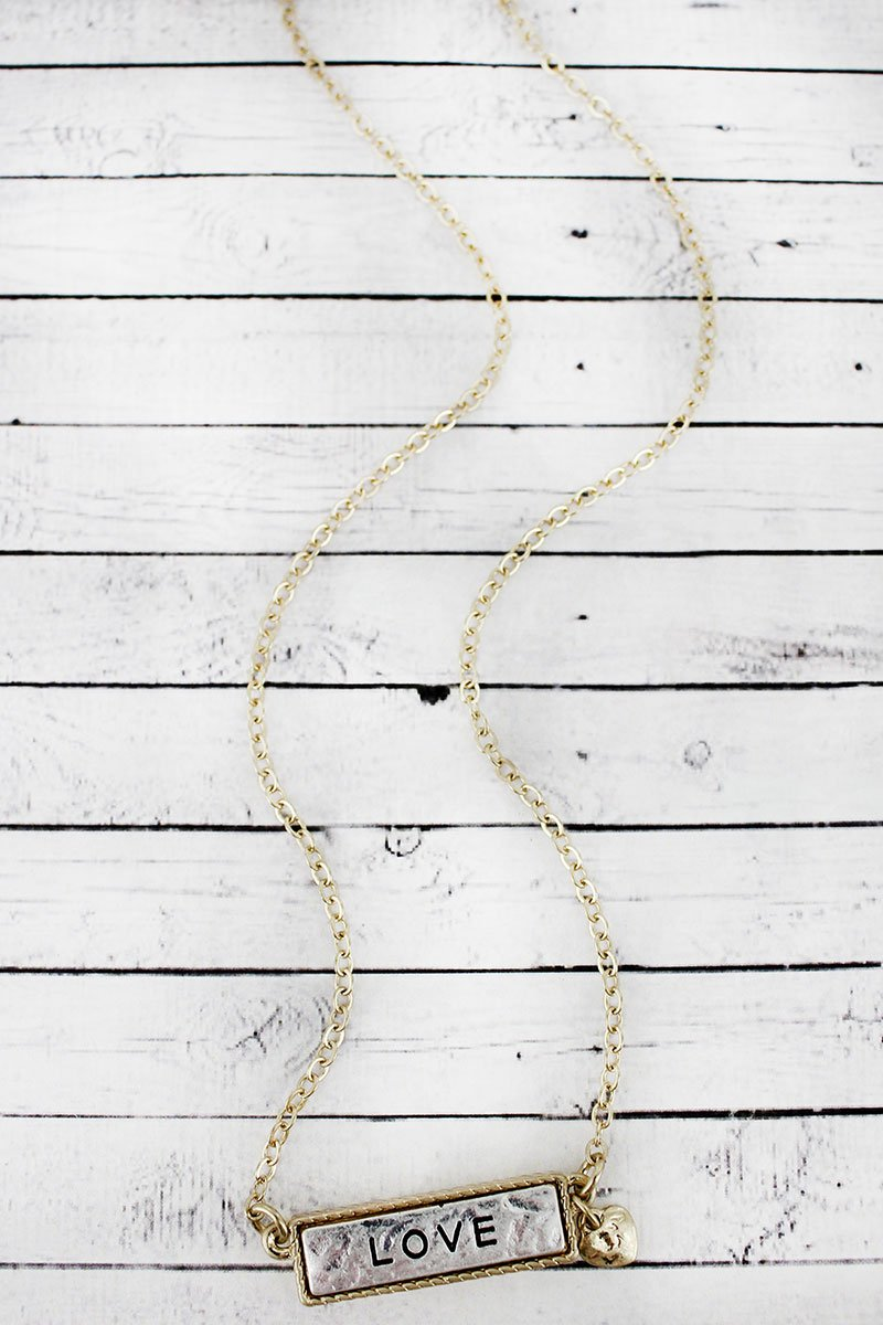 Crave Two-Tone 'Love' Bar Necklace